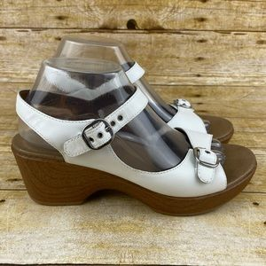 Dansko Joanie Full Grain White Leather Sandals